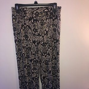 Pants - Black tribal print long flowy dress pants